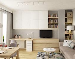 kawalerka 35m2 - Mały szary salon z jadalnią, styl skandynawski - zdjęcie od Grafika i Projekt architektura wnętrz
