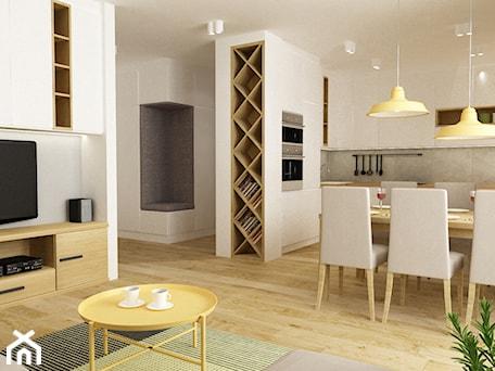 Aranżacje wnętrz - Jadalnia: apartament bemowo ok.100m2 - Średnia biała jadalnia w kuchni w salonie, styl nowoczesny - Grafika i Projekt architektura wnętrz. Przeglądaj, dodawaj i zapisuj najlepsze zdjęcia, pomysły i inspiracje designerskie. W bazie mamy już prawie milion fotografii!
