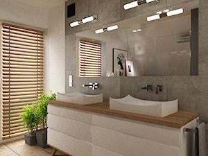 Dom pod Warszawą 160 m2 - Duża beżowa szara łazienka na poddaszu w domu jednorodzinnym z oknem, styl skandynawski - zdjęcie od Grafika i Projekt architektura wnętrz