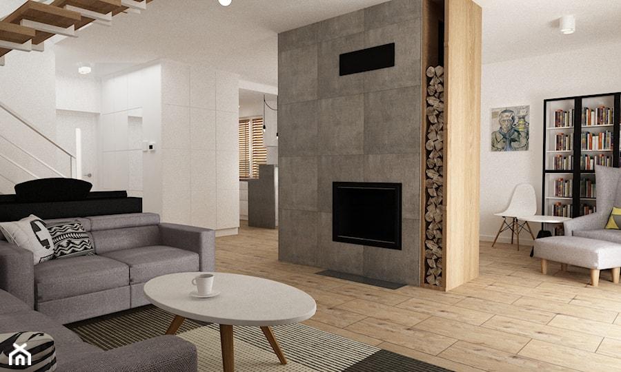 Dom pod Warszawą 160 m2 - Duży biały salon z bibiloteczką, styl skandynawski - zdjęcie od Grafika i Projekt architektura wnętrz