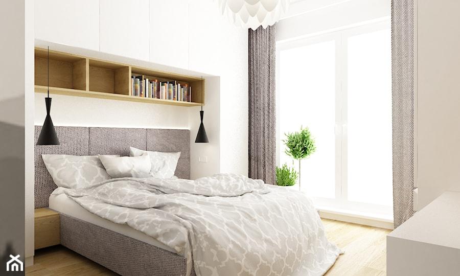 mieszkanie 50m2 w warszawie - Średnia biała sypialnia małżeńska, styl skandynawski - zdjęcie od Grafika i Projekt architektura wnętrz