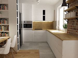 mieszkanie jasne w stylu nowoczesnym/skandynawskim 60m2 - Średnia otwarta biała kuchnia w kształcie litery l, styl skandynawski - zdjęcie od Grafika i Projekt architektura wnętrz