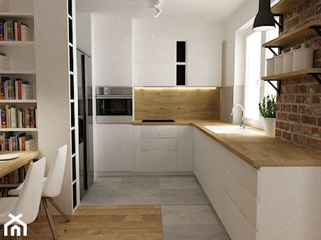 Aranżacje wnętrz - Kuchnia: mieszkanie jasne w stylu nowoczesnym/skandynawskim 60m2 - Średnia otwarta biała kuchnia w kształcie litery l, styl skandynawski - Grafika i Projekt architektura wnętrz. Przeglądaj, dodawaj i zapisuj najlepsze zdjęcia, pomysły i inspiracje designerskie. W bazie mamy już prawie milion fotografii!