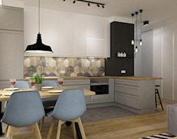 mieszkanie 75m2 słuzew - Średnia kuchnia w kształcie litery l, styl skandynawski - zdjęcie od Grafika i Projekt architektura wnętrz