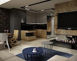 apartament na Mokotowie 103m2 z dodatkiem granatu - Średni beżowy brązowy salon z kuchnią z jadalnią, styl nowoczesny - zdjęcie od Grafika i Projekt architektura wnętrz