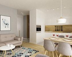 kawalerka 35m2 - Średnia biała kuchnia w kształcie litery u w aneksie, styl skandynawski - zdjęcie od Grafika i Projekt architektura wnętrz