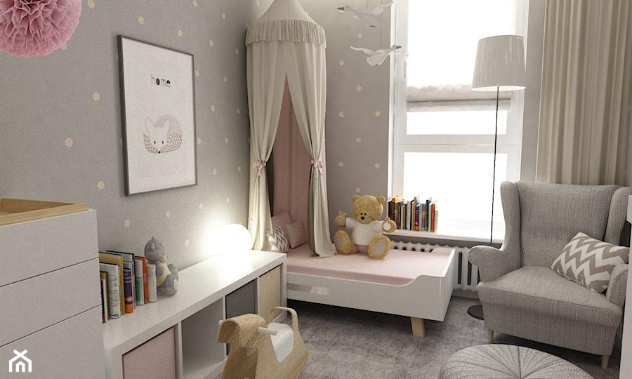 Aranżacje wnętrz - Pokój dziecka: pokój dziecięcy - Mały szary pokój dziecka dla dziewczynki dla malucha, styl skandynawski - Grafika i Projekt architektura wnętrz. Przeglądaj, dodawaj i zapisuj najlepsze zdjęcia, pomysły i inspiracje designerskie. W bazie mamy już prawie milion fotografii!