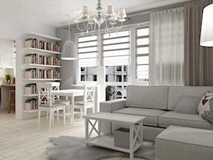 """metamorfoza kawalerki """"mała prowansja"""" - Średni biały salon z jadalnią, styl prowansalski - zdjęcie od Grafika i Projekt architektura wnętrz"""