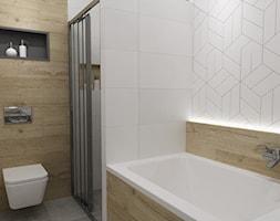 mieszkanie 80m2 metamorfoza - Mała łazienka w bloku w domu jednorodzinnym bez okna, styl industrialny - zdjęcie od Grafika i Projekt architektura wnętrz