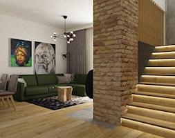 dom w okolicy warszawy 150m2 - Duży biały salon z jadalnią, styl nowoczesny - zdjęcie od Grafika i Projekt architektura wnętrz