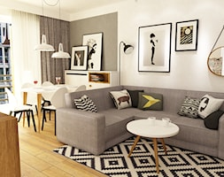 Mieszkanie w realizacji - Średni salon z jadalnią, styl skandynawski - zdjęcie od Grafika i Projekt architektura wnętrz