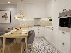 mieszkanie Mokotów nowocześnie klasycznie 70m2 - Średnia otwarta szara kuchnia w kształcie litery u w aneksie, styl klasyczny - zdjęcie od Grafika i Projekt architektura wnętrz