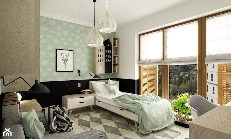 pokój dziecięcy - Średni biały pastelowy zielony pokój dziecka dla chłopca dla dziewczynki dla ucznia dla nastolatka, styl nowoczesny - zdjęcie od Grafika i Projekt architektura wnętrz