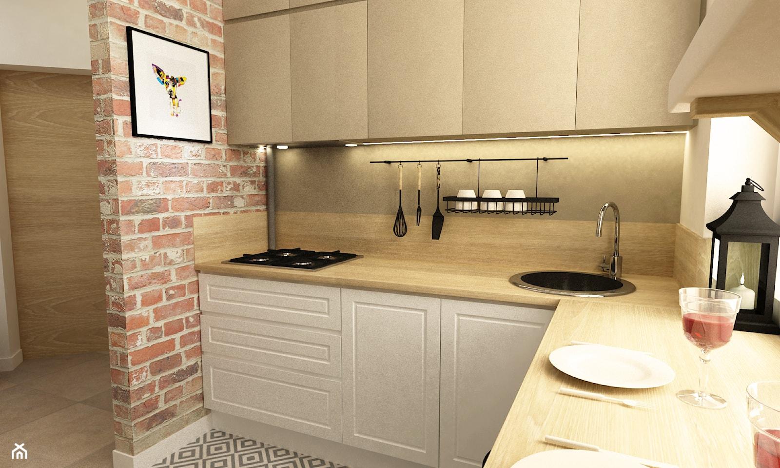 metamorfoza mieszkania 50 m2 w kamienicy - Mała otwarta szara kuchnia w kształcie litery u w aneksie, styl skandynawski - zdjęcie od Grafika i Projekt architektura wnętrz - Homebook