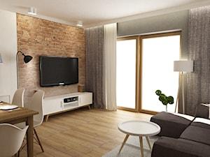 Dom Brwinów 200 m2 - Średni szary biały salon z jadalnią, styl nowoczesny - zdjęcie od Grafika i Projekt architektura wnętrz