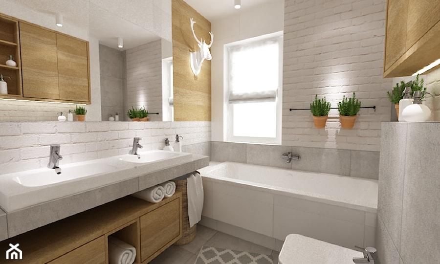 dom 120 m2 bemowo - Mała łazienka w bloku w domu jednorodzinnym z oknem, styl nowoczesny ...