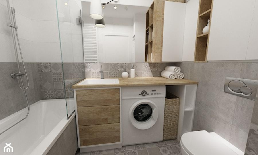 łazienki w stylu skandynawskim - Mała biała szara łazienka, styl nowoczesny - zdjęcie od Grafika i Projekt architektura wnętrz