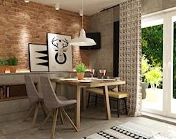 metamorfoza kuchni 15m2 - Średnia otwarta brązowa szara jadalnia w salonie, styl nowoczesny - zdjęcie od Grafika i Projekt architektura wnętrz
