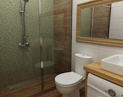 łazienki w stylu skandynawskim - Mała biała brązowa zielona łazienka bez okna, styl skandynawski - zdjęcie od Grafika i Projekt architektura wnętrz