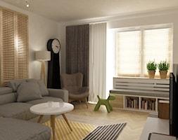 kabaty metamorfoza 60m2 - Mały biały salon z bibiloteczką z tarasem / balkonem, styl skandynawski - zdjęcie od Grafika i Projekt architektura wnętrz