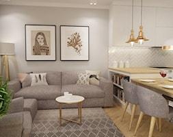 mieszkanie Mokotów nowocześnie klasycznie 70m2 - Mały szary salon z kuchnią z jadalnią, styl klasyc ... - zdjęcie od Grafika i Projekt architektura wnętrz - Homebook