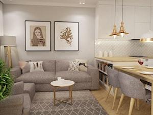 mieszkanie Mokotów nowocześnie klasycznie 70m2 - Mały szary salon z kuchnią z jadalnią, styl klasyczny - zdjęcie od Grafika i Projekt architektura wnętrz