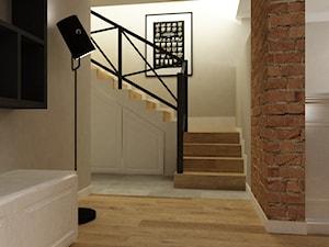 Dom w Stylu Neokolonialnym poznań - Średnie wąskie schody dwubiegowe drewniane betonowe, styl eklektyczny - zdjęcie od Grafika i Projekt architektura wnętrz