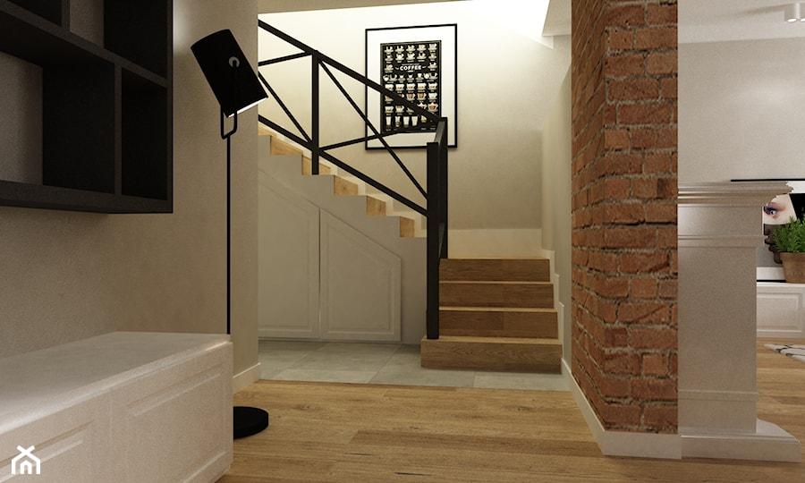 Aranżacje wnętrz - Schody: Dom w Stylu Neokolonialnym poznań - Średnie wąskie schody dwubiegowe drewniane betonowe, styl eklektyczny - Grafika i Projekt architektura wnętrz. Przeglądaj, dodawaj i zapisuj najlepsze zdjęcia, pomysły i inspiracje designerskie. W bazie mamy już prawie milion fotografii!