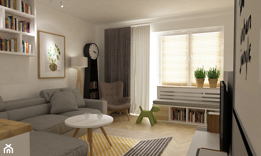 kabaty metamorfoza 60m2 - Średni biały salon z bibiloteczką, styl skandynawski - zdjęcie od Grafika i Projekt architektura wnętrz