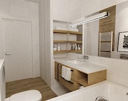 Projekt mieszkania 90m2 ochota - Mała łazienka w bloku w domu jednorodzinnym bez okna, styl skandynawski - zdjęcie od Grafika i Projekt architektura wnętrz