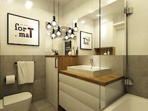 metamorfoza łazienki 4 m2 w trakcie realizacji - Mała beżowa szara łazienka, styl skandynawski - zdjęcie od Grafika i Projekt architektura wnętrz