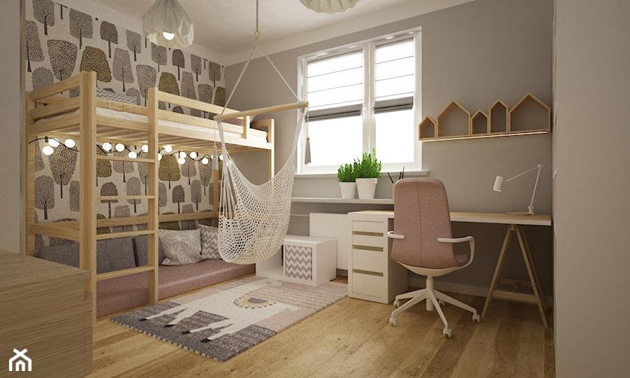 pokój dziecięcy - Średni biały szary pokój dziecka dla chłopca dla dziewczynki dla rodzeństwa dla ucznia dla nastolatka, styl nowoczesny - zdjęcie od Grafika i Projekt architektura wnętrz