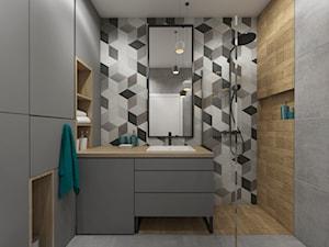 łazienki w stylu skandynawskim - Mała szara łazienka na poddaszu w bloku w domu jednorodzinnym bez okna, styl skandynawski - zdjęcie od Grafika i Projekt architektura wnętrz