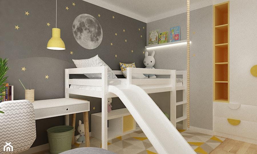 pokój dziecięcy - Mały szary pokój dziecka dla chłopca dla dziewczynki dla ucznia dla malucha, styl skandynawski - zdjęcie od Grafika i Projekt architektura wnętrz