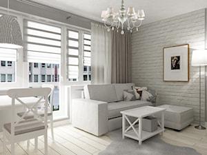 """metamorfoza kawalerki """"mała prowansja"""" - Średni szary biały salon z jadalnią, styl prowansalski - zdjęcie od Grafika i Projekt architektura wnętrz"""
