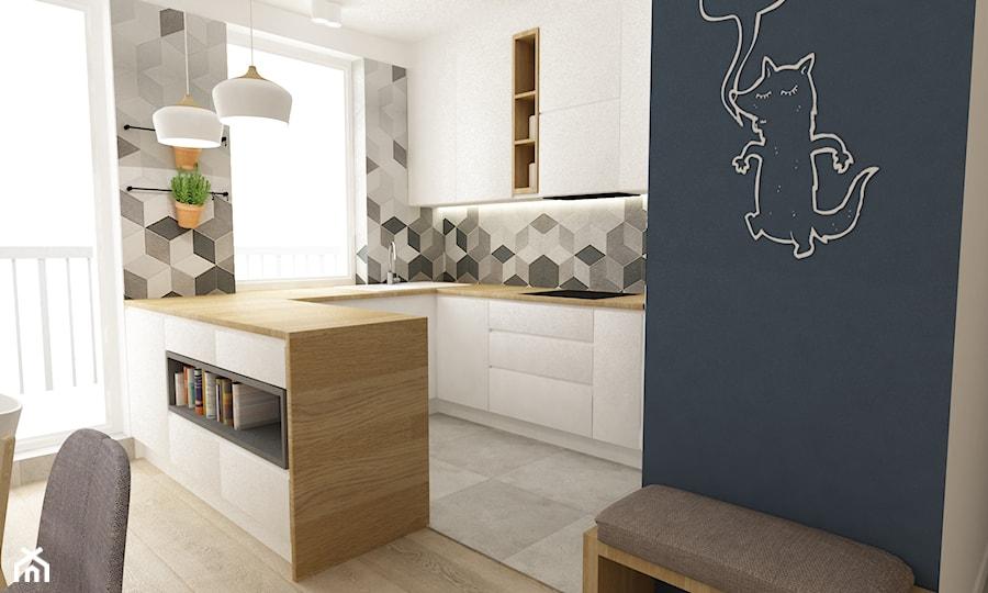 mieszkanie 68m2 w stylu duńskim - Mała biała szara kuchnia w kształcie litery u w aneksie z wyspą, styl skandynawski - zdjęcie od Grafika i Projekt architektura wnętrz