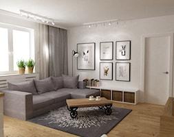 mieszkanie jasne w stylu nowoczesnym/skandynawskim 60m2 - Mały biały salon z bibiloteczką, styl skandynawski - zdjęcie od Grafika i Projekt architektura wnętrz
