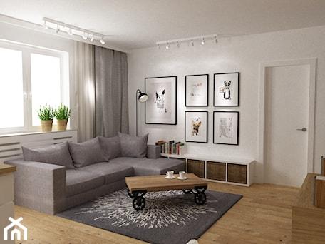 Aranżacje wnętrz - Salon: mieszkanie jasne w stylu nowoczesnym/skandynawskim 60m2 - Mały biały salon z bibiloteczką, styl skandynawski - Grafika i Projekt architektura wnętrz. Przeglądaj, dodawaj i zapisuj najlepsze zdjęcia, pomysły i inspiracje designerskie. W bazie mamy już prawie milion fotografii!