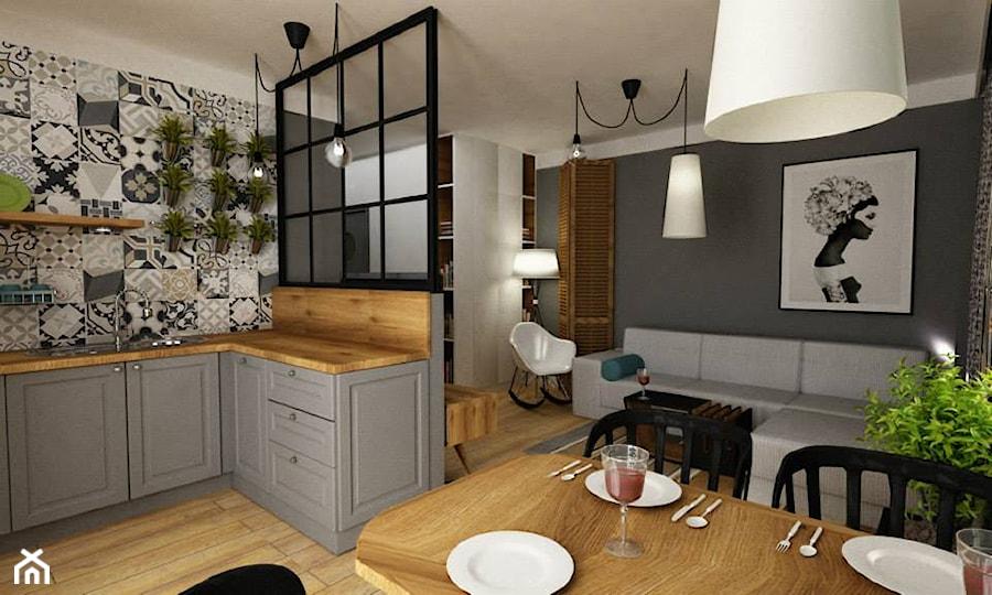salon z kuchnią - zdjęcie od Grafika i Projekt architektura wnętrz