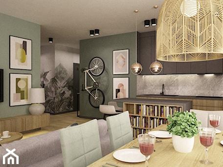 Aranżacje wnętrz - Salon: mieszkanie 90m2 z rowerem - Średni zielony salon z bibiloteczką z kuchnią z jadalnią, styl nowoczesny - Grafika i Projekt architektura wnętrz. Przeglądaj, dodawaj i zapisuj najlepsze zdjęcia, pomysły i inspiracje designerskie. W bazie mamy już prawie milion fotografii!