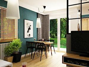mieszkanie 60m2 turkusowy mocny akcent - Średni biały turkusowy salon z kuchnią z jadalnią, styl skandynawski - zdjęcie od Grafika i Projekt architektura wnętrz