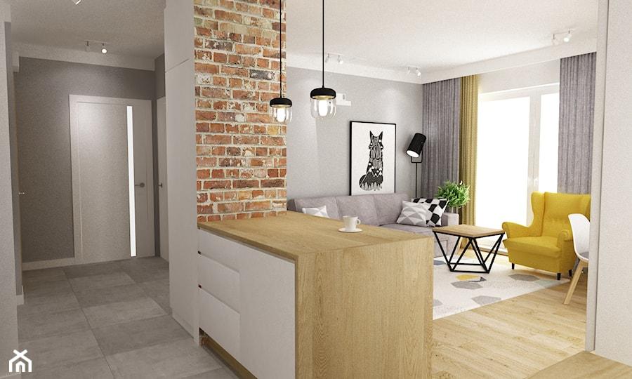 mieszkanie 50m2 w warszawie - Średnia otwarta biała kuchnia jednorzędowa w aneksie z oknem, styl skandynawski - zdjęcie od Grafika i Projekt architektura wnętrz