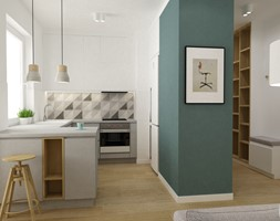 mieszkanie minimalistyczne 2 pokojowe - Średnia otwarta szara kuchnia w kształcie litery g w aneksie z oknem, styl minimalistyczny - zdjęcie od Grafika i Projekt architektura wnętrz