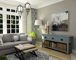 salon 15 m2 w stylu Hampton - zdjęcie od Grafika i Projekt architektura wnętrz