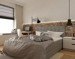 mieszkanie jasne w stylu nowoczesnym/skandynawskim 60m2 - Średnia biała sypialnia małżeńska, styl s ... - zdjęcie od Grafika i Projekt architektura wnętrz - Homebook
