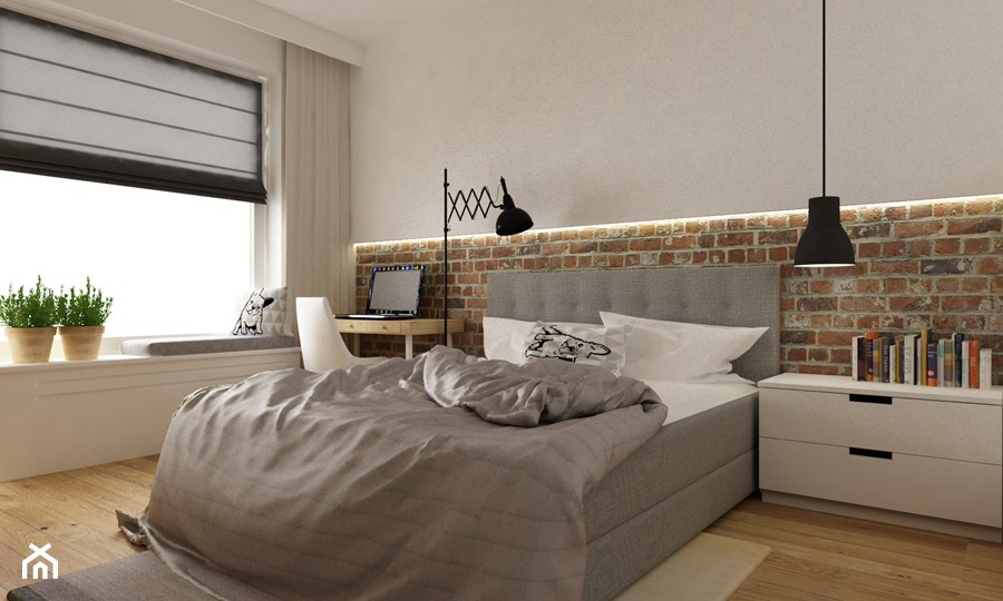 mieszkanie jasne w stylu nowoczesnym/skandynawskim 60m2 - Średnia biała sypialnia małżeńska, styl skandynawski - zdjęcie od Grafika i Projekt architektura wnętrz
