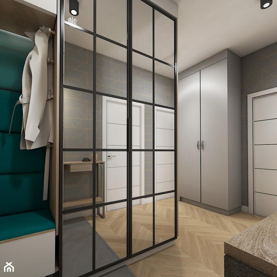 Aranżacje wnętrz - Hol / Przedpokój: mieszkanie 40m2 lekko industrialne - Średni szary hol / przedpokój, styl industrialny - Grafika i Projekt architektura wnętrz. Przeglądaj, dodawaj i zapisuj najlepsze zdjęcia, pomysły i inspiracje designerskie. W bazie mamy już prawie milion fotografii!