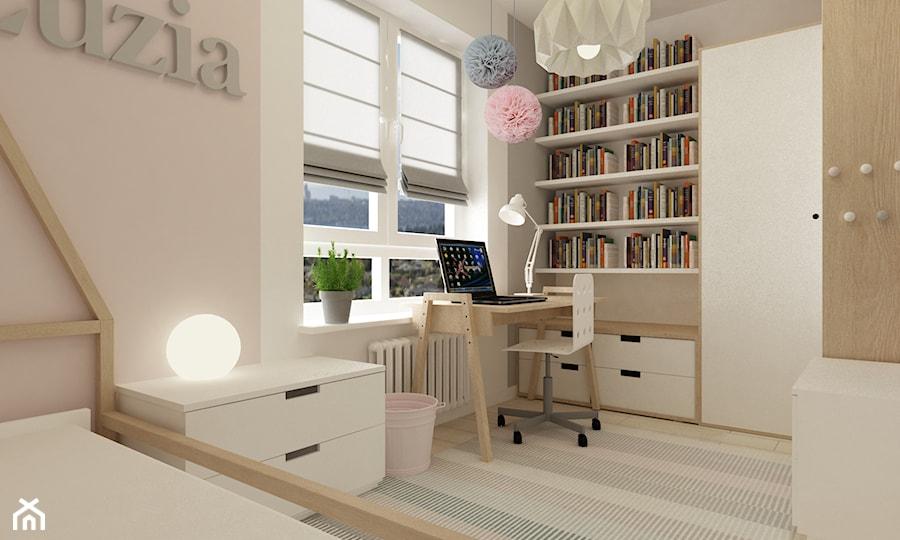 pokój dziecięcy - Średni biały pastelowy różowy pokój dziecka dla dziewczynki dla ucznia dla nastolatka, styl skandynawski - zdjęcie od Grafika i Projekt architektura wnętrz