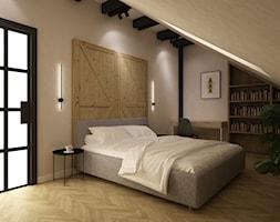 dom 300m2 szaro beż - Sypialnia, styl industrialny - zdjęcie od Grafika i Projekt architektura wnętrz - Homebook
