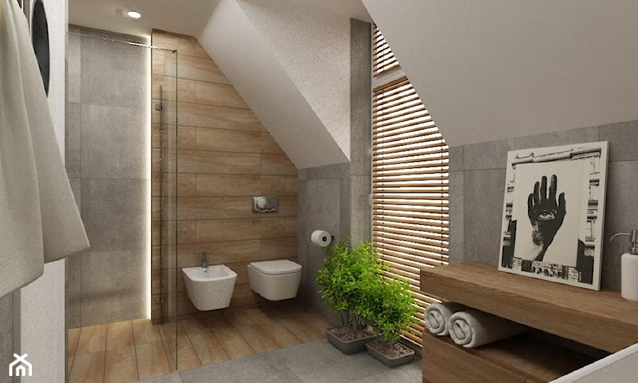 Dom Falenica 150 m2 styl nowoczesny - Średnia beżowa szara łazienka na poddaszu w domu jednorodzinnym z oknem, styl nowoczesny - zdjęcie od Grafika i Projekt architektura wnętrz